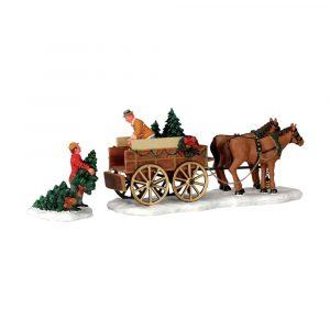 43451 - LEMAX CHRISTMAS TREE WAGON, SET OF 2